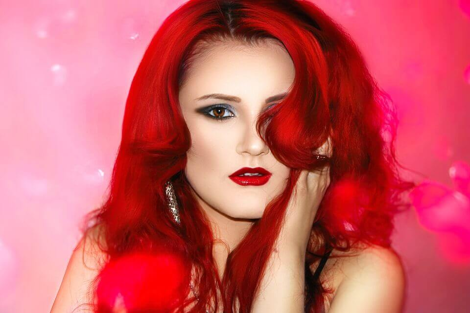 Woman with vibrant red hair
